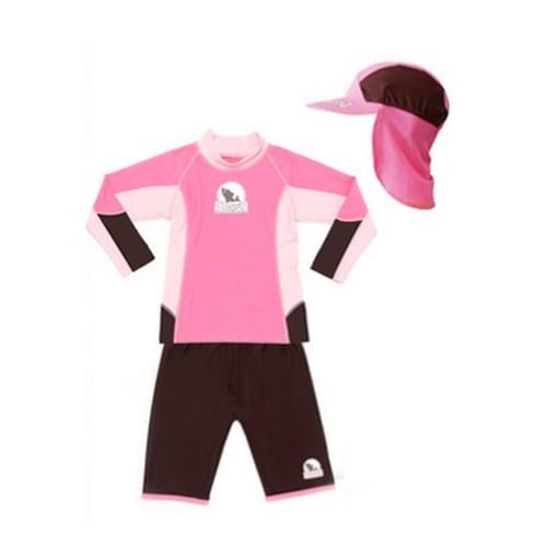베이비반즈  핑크-브라운 투피스 수영복+플랩캡+선글라스_이미지