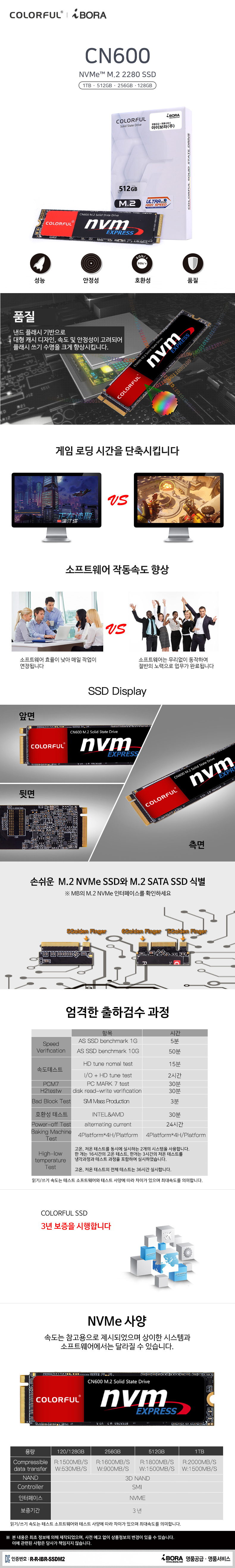COLORFUL CN600 M.2 NVMe 아이보라 (256GB)
