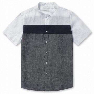 브렌우드 톤온톤 블럭 린넨 셔츠