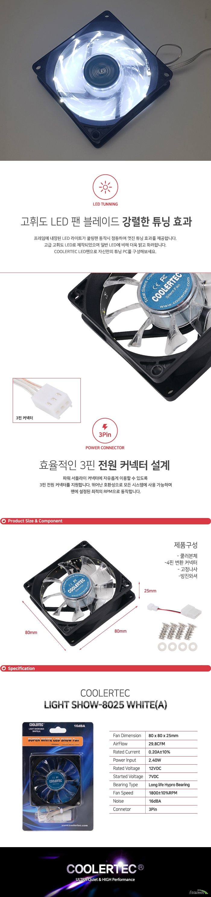 COOLERTEC LIGHT SHOW-8025 WHITE(A)