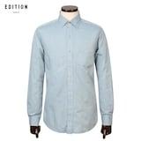 신성통상 에디션앤드지 면100 격자 패턴 긴팔 셔츠 BEV3WC1007BL_이미지