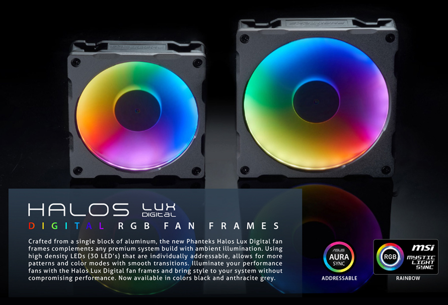 Phanteks HALOS LUX DIGITAL RGB FAN FRAMES 120MM BK