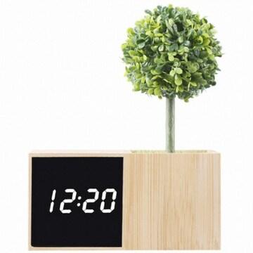 코비 대나무 무소음 LED 알람시계 BL70