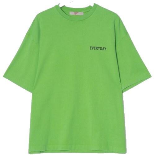 에잇세컨즈 그린 피그먼트 레터링 반소매 티셔츠 269542C35M_이미지
