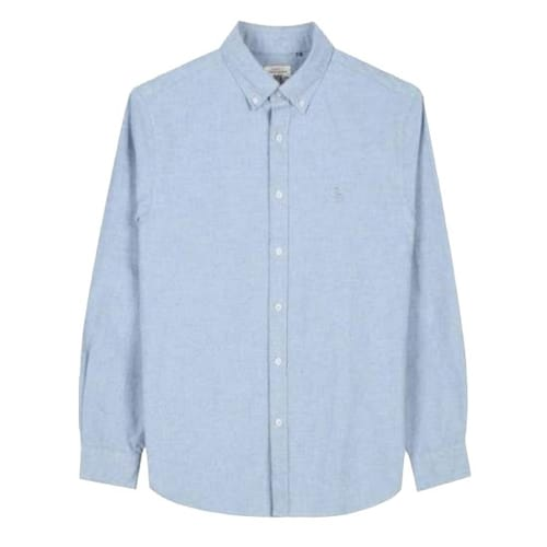 LF 헤지스(HAZZYS) 블루 기모면 버튼다운카라 긴팔 캐주얼 셔츠 HZSH7D501B2_이미지