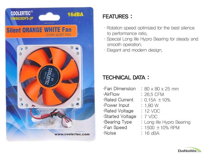 쿨러텍 OW8025DFS-2P 제품 박스 정면 이미지 및 스펙표