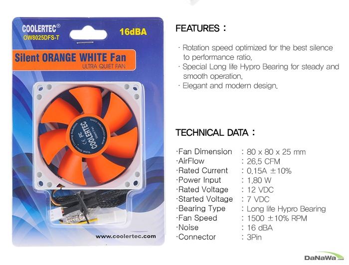 쿨러텍 OW8025DFS-T 제품 박스 정면 이미지 및 스펙표