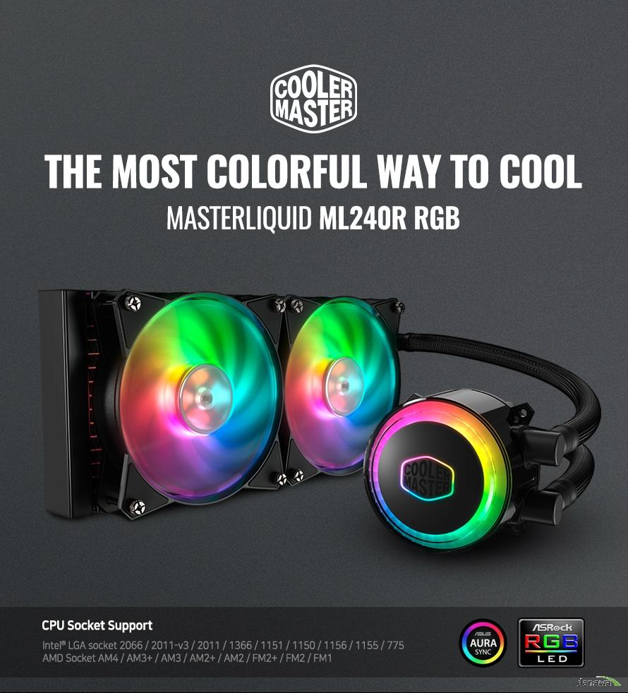 THE MOST COLORFUL WAY TO COOL MASTERLIQUID ML240R RGB  CPU Socket Support Intel® LGA socket 2066 / 2011-v3 / 2011 / 1366 / 1151 / 1150 / 1156 / 1155 / 775 AMD Socket AM4 / AM3+ / AM3 / AM2+ / AM2 / FM2+ / FM2 / FM1  Addressable RGB Lighting with Controller   DUAL CHAMBER PUMP 냉각수를 이중으로 분리하여 쿨링을 극대화 했습니다.  DOUBLE TUBING DESIGN FEP 튜빙은 튼튼한 내구성과 높은 유연성을 제공합니다.  LOW RESISTENCE RADIATOR 쿨링 표면적을 극대화할 수 있도록 정밀 설계되었습니다.  DUAL MF120R RGB FANS MasterFan Pro 120 Air Balance RGB 팬을 2개 제공합니다.  제품 누수로 인하여 주변기기에 손상이 있을 시 본사에서 원인 확인 후 배상 진행    로우 프로필 듀얼 챔버 쿨러마스터 MasterLiquid ML240R 펌프는 산화 및 부식에 영향을받지 않습니다. PPS (Polyphenylene sulfide)와 유리 섬유 구조는 광범위한 화학 물질에 저항하며  수분이나 수중에 영향을 받지 않아 내구성이 뛰어납니다.    DIFFUSER 반사광 및 투과광에 균일한 색상을 제공  TRI-PHASE MOTOR WITH SILENT DRIVER 낮은 dBA를 유지하면서 작동 전류 최소화  O-RING MADE OF HIGH QUALITY EPDM RUBBER 누수 방지용 고품질 EPDM 러버  MICROCHANNEL COLD PLATE 정밀 가공된 마이크로 채널은 접촉 표면을 최대화하여 열을 빠르게 방출  HIGH PERFORMANCE IMPELLER 수압 향상을 위한 내부 설계  RGB PUMP DESIGN RGB LED 펌프 디자인 시스템 내부의 모든 RGB와 동기화할 수 있어 일관성있는 LED 연출이 가능합니다. 기본 제공되는 RGB 컨트롤러로 스태틱, 사이클, 브레싱 등 다양한 LED 이펙트 기능을 설정할 수 있고, 밝기 및 속도 조절 또한 설정 가능합니다.   QUALITY PRECISION COPPER BASE 초정밀 구리 베이스 정밀하게 제작된 구리 베이스 접촉면으로 CPU 발열을 신속하게 흡수합니다.  RGB 조명 동기화 워터 펌프가 RGB 컨트롤러와 함께 켜져 쉽게 제어하고 동기화 할 수 있습니다.  높은 설치 호환성 현재 유통되는 모든 메인보드 소켓에 설치 가능합니다. 뛰어난 편의성으로 손쉽게 고사양 시스템을 구축하세요.  낮은 저항의 240mm 라디에이터 LOW RESISTENCE RADIATOR 맞춤형 설계된 낮은 저항의 라디에이터로써 더 높은 유속, 뛰어난 열 교환 효율을 가졌으며, 촘촘하고 균일하게 제작된 라디에이터 핀은 팬의 낮은 풍량으로도 넓은 표면적을 식힐 수 있습니다. 탁월한 냉각 성능으로 안정적이고 쾌적한 시스템을 구성하세요.  초정밀 라디에이터 낮은 저항으로 더 높은 유속, 열교환 효율을 가능하게하며 탁월한 냉각 성능을 제공합니다.  간편한 설치 과정 Intel과 AMD 플랫폼 모두 빠르고 쉽게 설치할 수 있으며 설치 이후 유지 보수가 필요없습니다.  MASTERFAN PRO 120 AIR BALANCE RGB MASTERFAN PRO BALANCE 쿨링 팬 장착 쿨러마스터 프리미엄 쿨러를 장착하여 강력한 쿨링 성능 및 RGB LED 기능을 갖췄습니다. 뛰어난 내구성을 가지고 있어 프레임의 변형을 최소화하였기 때문에 휨 현상으로 인한 덜렁거림이나 프레임 파손 등의 문제가 발생하지 않습니다. 또한, 고무 마운팅 설계로 진동을 최소화하였습니다.  16.7M Color 1670만 가지의 RGB 컬러 LED로 시스템과 동기화하여 개성있는 커스텀 튜닝을 할 수 있습니다.  뛰어난 쿨링 성능 높은 풍량과 풍압을 모두 갖춘 쿨러마스터 프리미엄 팬으로 강력한 성능을 냅니다.  RGB LED 컨트롤러 제공 간