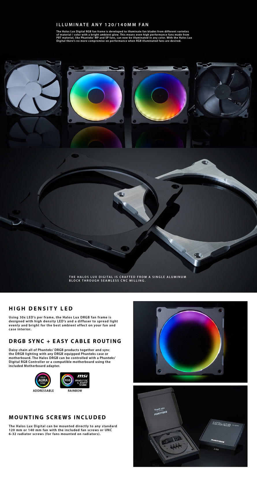 Phanteks  HALOS LUX DIGITAL RGB FAN FRAMES 140MM BK