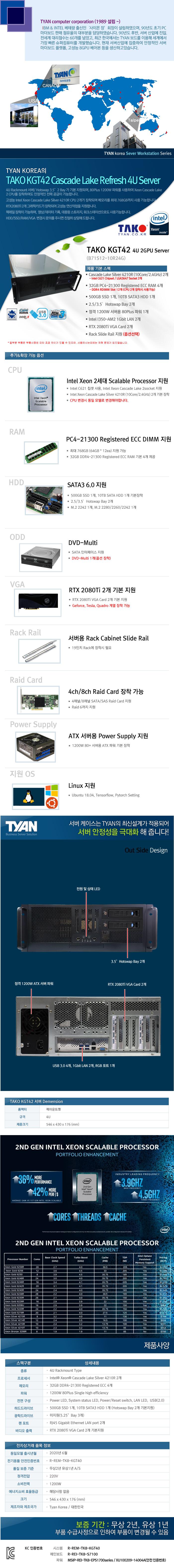 TYAN TAKO-KGT42-(B71S12-10R24G) 2GPU (128GB, SSD 500GB + 10TB)