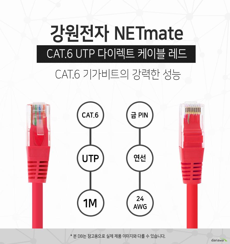 강원전자 NETMATE            CAT 6 UTP 다이렉트 케이블 레드                                 CAT 6 기가비트의 강력한 성능                                    CAT 6            UTP            1M            금핀            연선            24 AWG                        본 디비는 참고용으로 실제 제품 이미지와 다를 수 있습니다.