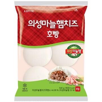 롯데제과 의성마늘햄치즈 호빵 6개입 540g (1개)