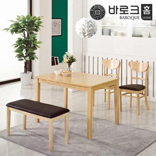 바로크홈  미렌 식탁세트 (의자2개+벤치1개)_이미지