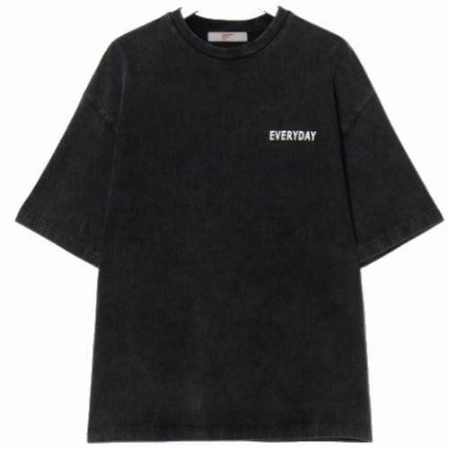 에잇세컨즈 남성 애쉬 피그먼트 레터링 반소매 티셔츠 269542C354_이미지