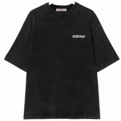 에잇세컨즈 애쉬 피그먼트 레터링 반소매 티셔츠 269542C354_이미지