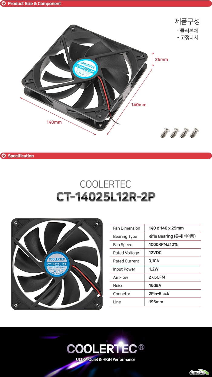 COOLERTEC CT-14025L12R-2P