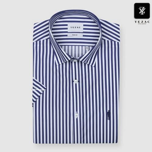 패션그룹형지 예작 네이비 스트라이프 슬림핏 반소매 셔츠 YJ8MBS622NY_이미지