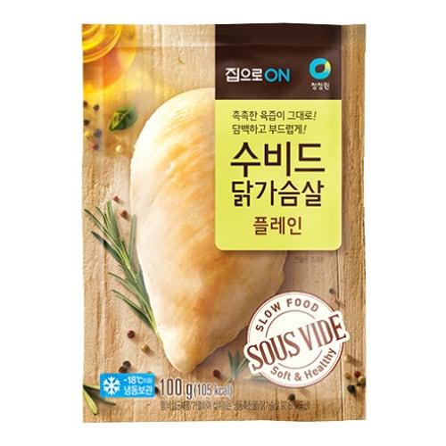 대상 청정원 집으로ON 수비드 닭가슴살 플레인 100g (15개)_이미지