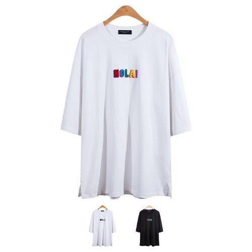 비케이커머스 모니즈 루즈핏 HOLA 반팔 티셔츠 TSB744_이미지