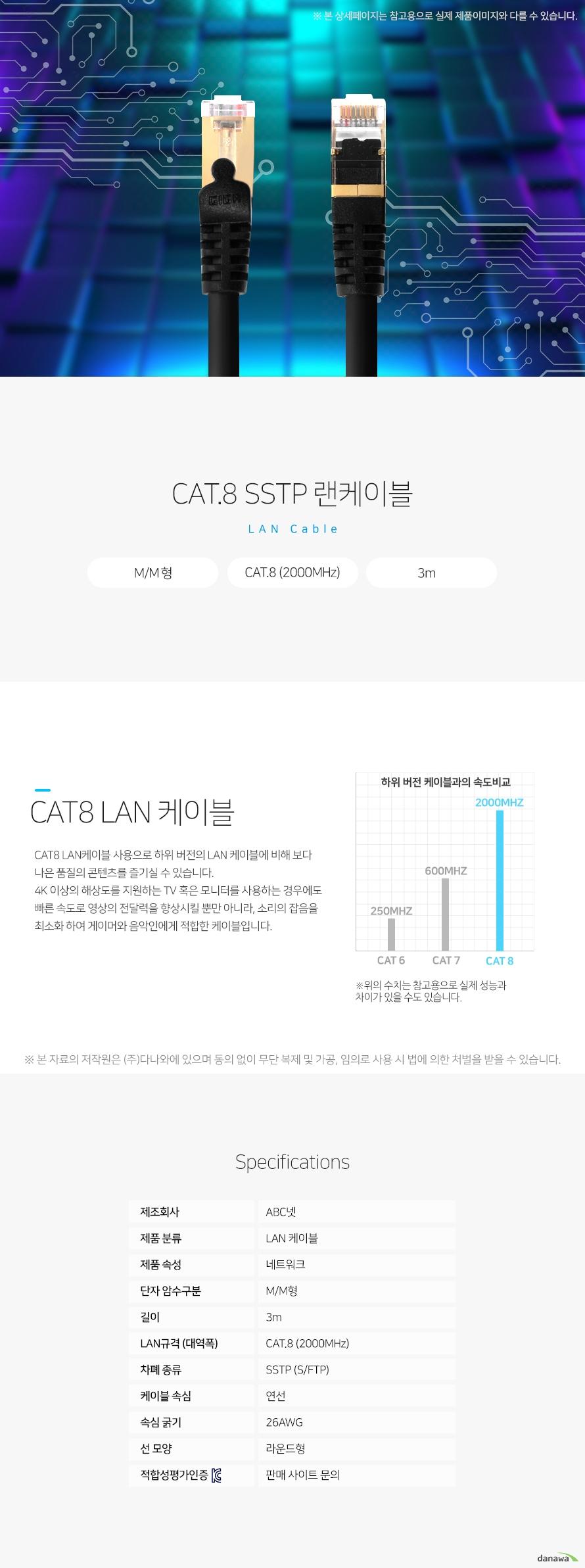 ABC넷 CAT.8 SSTP 랜케이블 (3m) 상세 스펙 LAN 케이블 / 네트워크 / M/M형 / CAT.8 (2000MHz) / SSTP (S/FTP) / 연선 / 26AWG / 라운드형 / RJ45 / RJ45