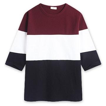 탑보이 와플 투톤 7부 티셔츠