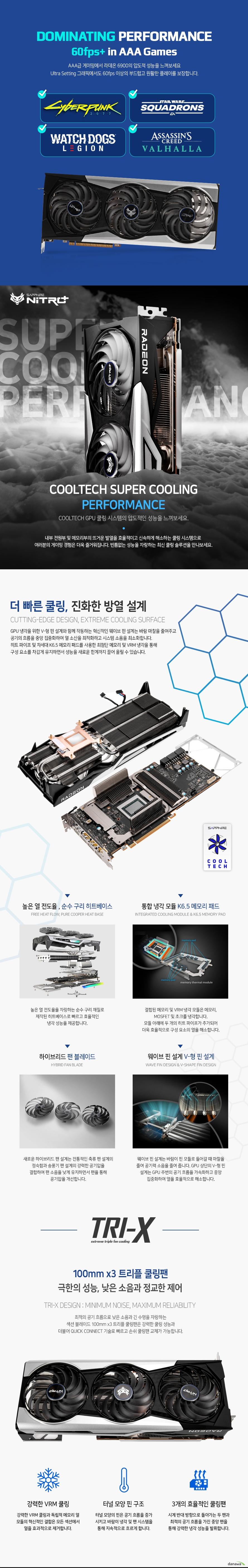 SAPPHIRE 라데온 RX 6900 XT NITRO+ Special Edition OC D6 16GB Tri-X