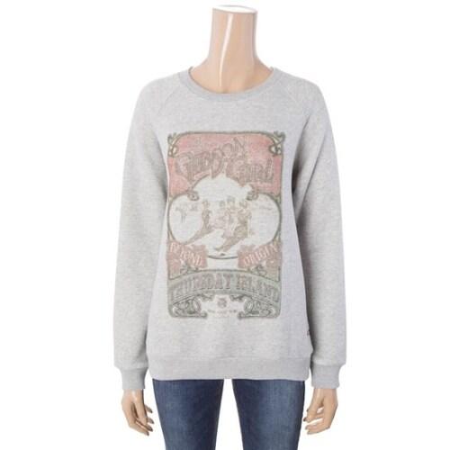 지엔코 써스데이아일랜드 여성 빈티지 프린팅 맨투맨 티셔츠 T168MST237W_이미지