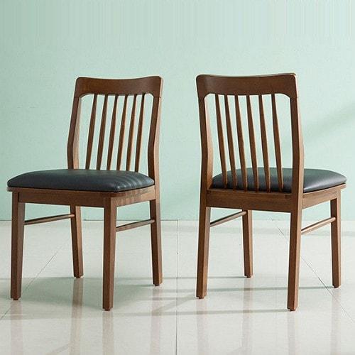 잉글랜더 폴린 고무나무 원목 의자 (2개)_이미지