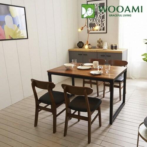 리빙디자인연구소 우아미 도나 멀바우 원목 식탁세트 1200 (의자4개)_이미지