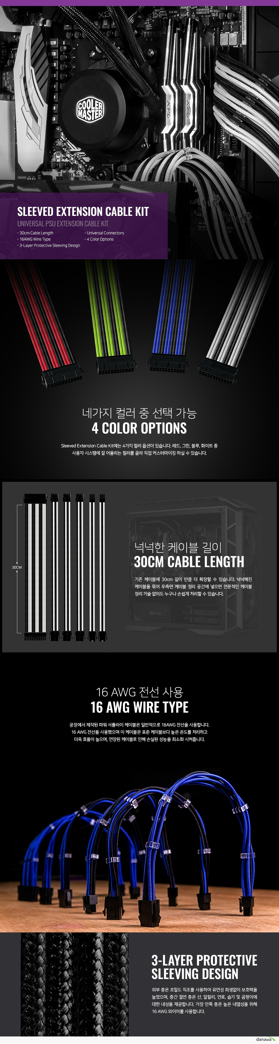 쿨러마스터  Sleeved Extension Cable Kit(0.3m, 그린)