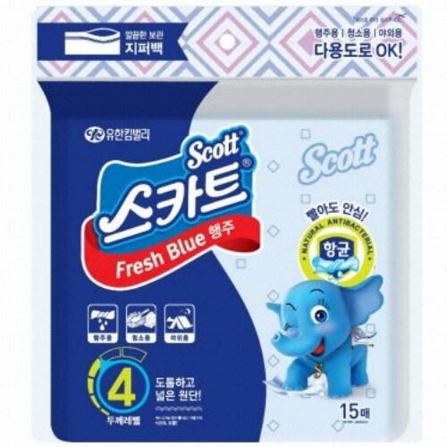 유한킴벌리 스카트 항균 프레쉬 블루 행주타올 15매 (1개) *4팩_이미지