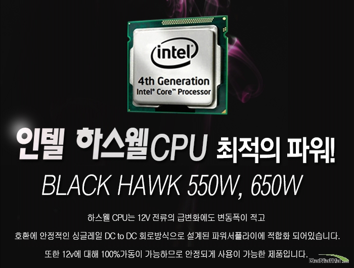 POWEREX BLACK HAWK 650W 인텔 하스웰 CPU 지원