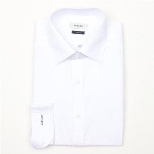 에스제이듀코 브로이어블루 사틴솔리드 패턴 슬림핏 긴팔 셔츠 ED6FM52LS740EWH_이미지