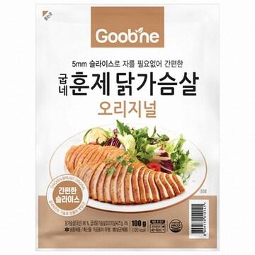 지앤몰 굽네 오리지널 훈제 닭가슴살 슬라이스 100g (16개)