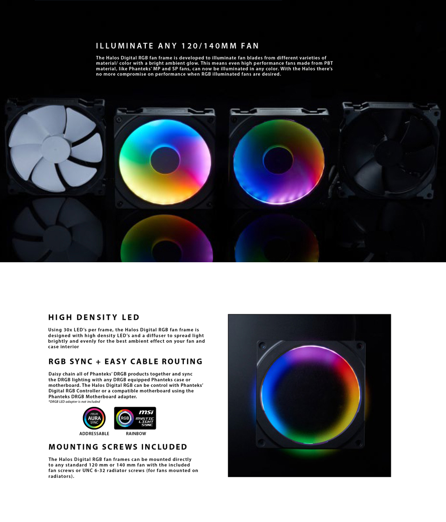 Phanteks  HALOS DIGITAL RGB FAN FRAMES 140MM