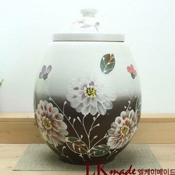 LKmade  옹기 투톤 만개한 모란꽃 쌀항아리 25kg