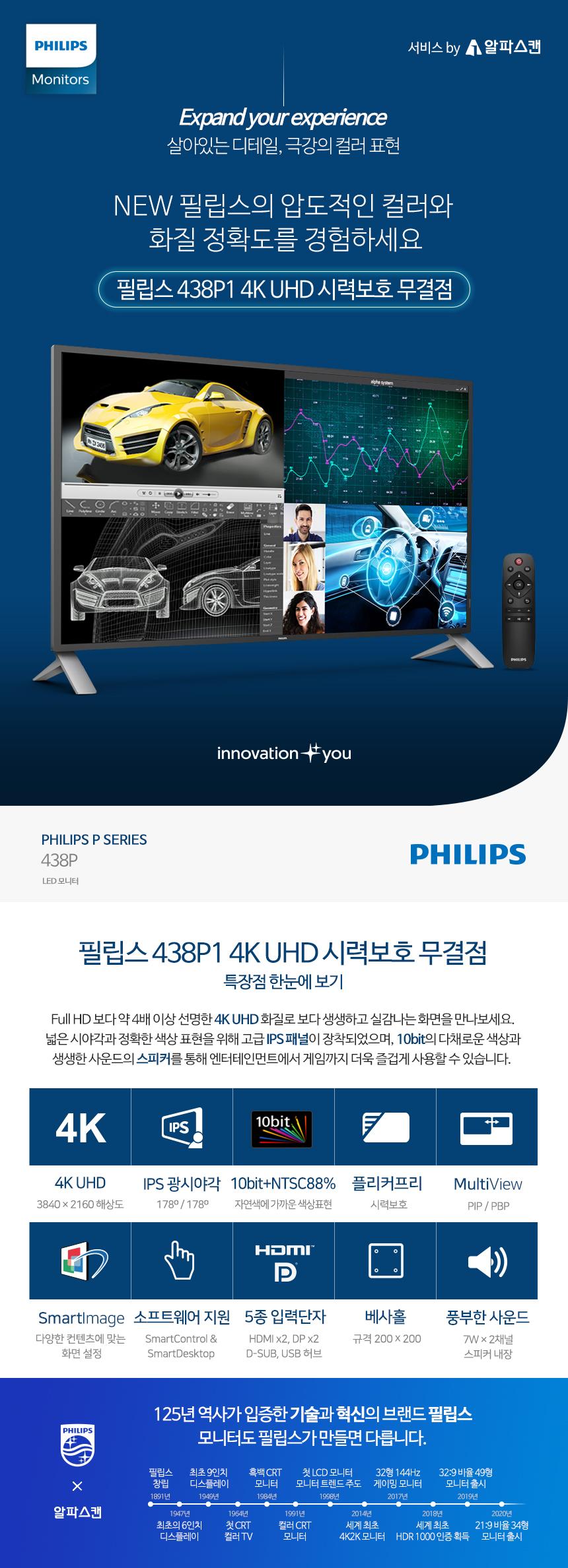 필립스 438P1 4K UHD 시력보호 무결점