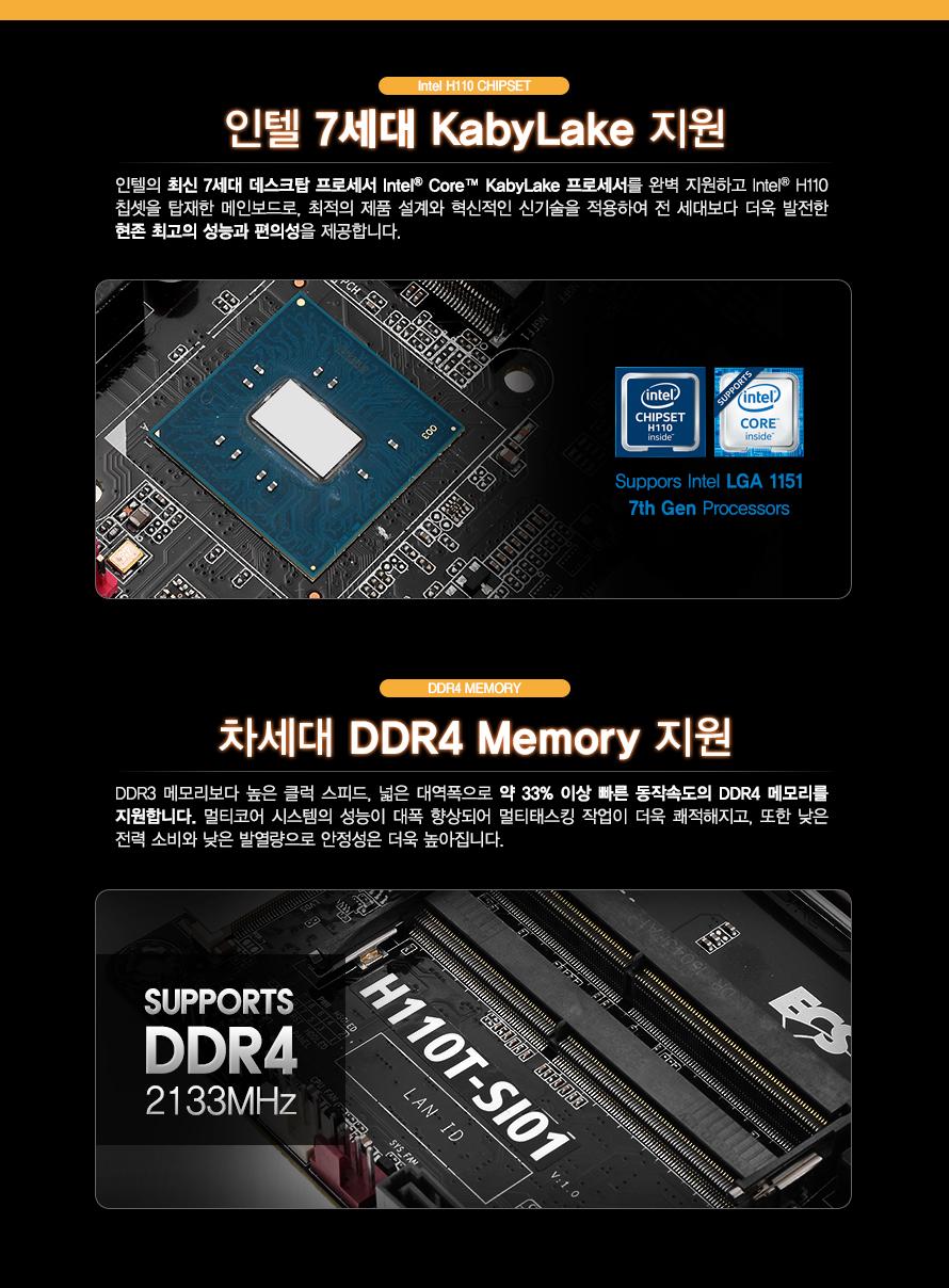 INTEL H110 CHIPSET               인텔 7세대 KABYLAKE 지원       인텔의 최신 7세대 데스크탑 프로세서 INTEL CORE KABYLAKE 프로세서를 완벽 지원하고       INTEL H110 칩셋을 탑재한 메인보드로 최적의 제품 설계와 혁신적인 신기술을 적용하여        전 세대보다 더욱 발전한 현존 최고의 성능과 편의성을 제공합니다            DDR4 MEMORY                차세대 DDR4 MEMORY 지원                DDR3 메모리보다 높은 클럭 스피드 넓은 대역폭으로 약 33% 이상 빠른 동작속도의 DDR4 메모리를        지원합니다 멀티코어 시스템의 성능이 대폭 향상되어 멀티태스킹 작업이 더욱 쾌적해지고 또한 낮은        전력 소비와 낮은 발열량으로 안정성은 더욱 높아집니다