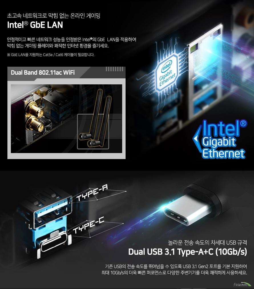 안정적인 성능을 인정받은 인텔의 기가비트 랜으로 놀라운 네트워크 속도를 제공합니다. 기존 USB의 전송 속도를 뛰어넘을 수 있도록 USB 3.1 Gen2 포트를 기본 지원하여 최대 10Gb/s의 더욱 빠른 퍼포먼스로 다양한 주변기기를 더욱 쾌적하게 사용하세요.