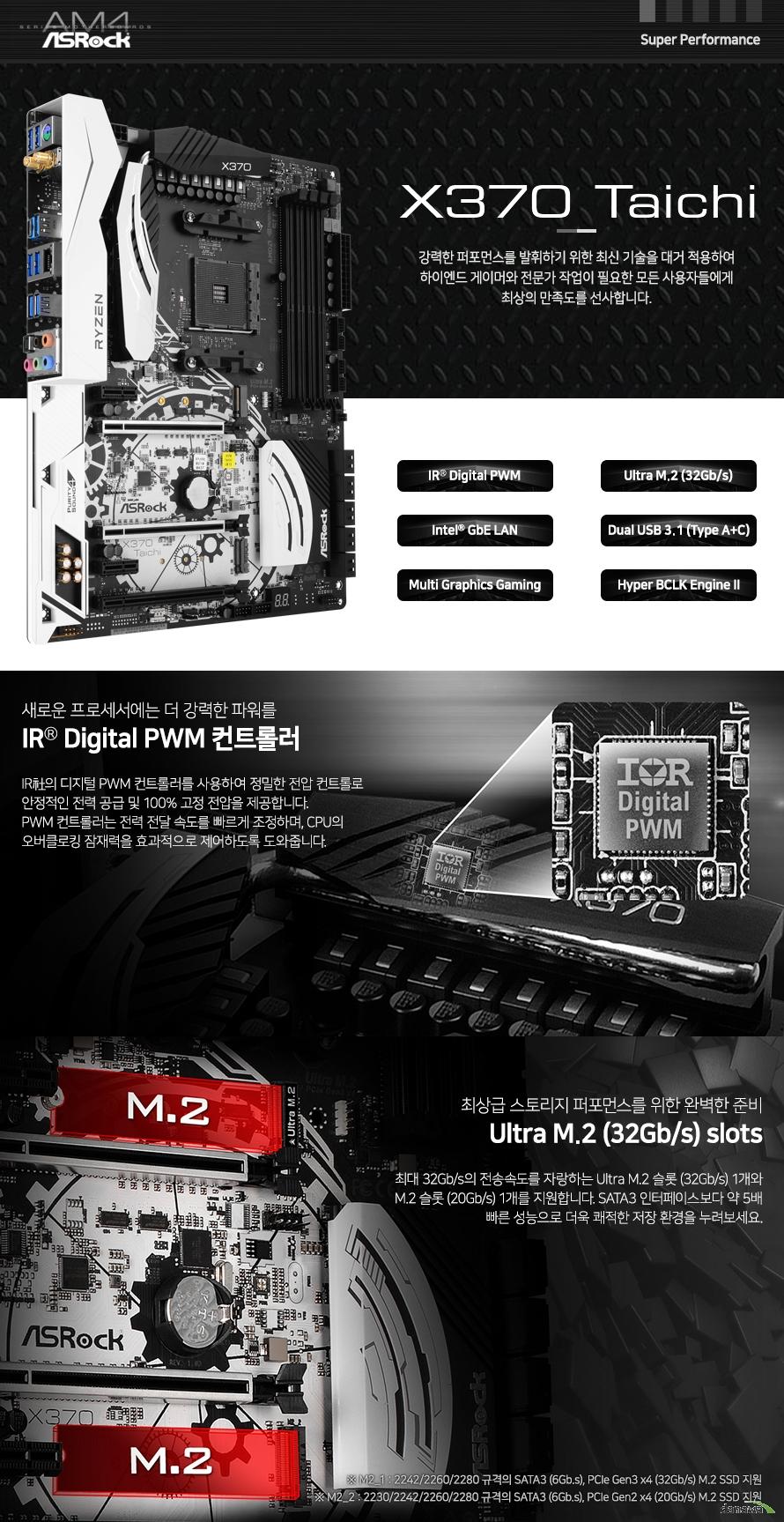 디지털 PWM 컨트롤러를 사용하여 정밀한 전압 컨트롤로 안정적인 전력 공급 및 고정 전압을 제공합니다. PWM 컨트롤러는 전력 전달 속도를 빠르게 조정하며, CPU의 오버클로킹 잠재력을 효과적으로 제어하도록 도와줍니다. 최대 32Gb/s의 전송속도를 자랑하는 Ultra M.2 슬롯 (32Gb/s) 1개와 M.2 슬롯 (20Gb/s) 1개를 지원합니다. SATA3 인터페이스보다 약 5배 빠른 성능으로 더욱 쾌적한 저장 환경을 누려보세요.
