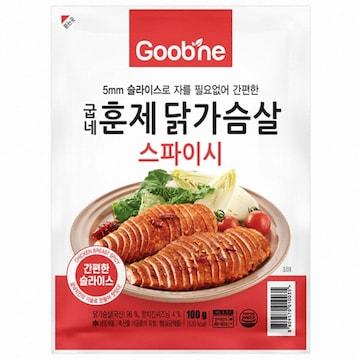 지앤몰 굽네 스파이시 훈제 닭가슴살 슬라이스 100g (1개)