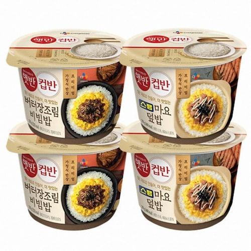 CJ제일제당 햇반 컵반 스팸마요덮밥 219g x 2개 + 버터장조림비빔밥 216g x 2개 (1세트)_이미지