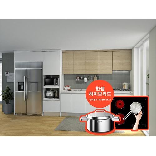 한샘  유로 9000 프라 화이트오크 ㅡ자 키큰장+냉장고장형 (전기쿡탑, ~4.2m)_이미지
