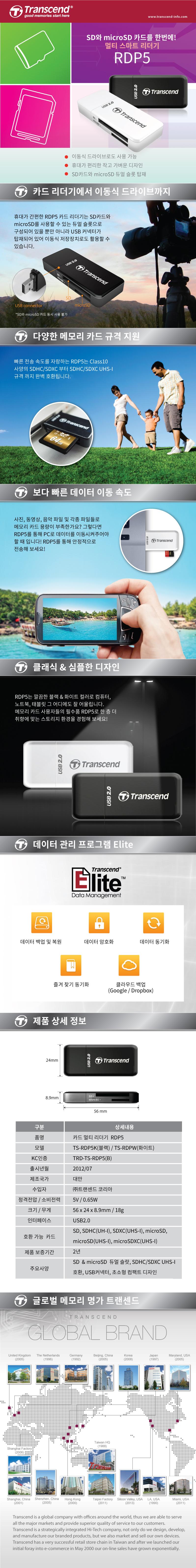 트랜센드  USB2.0 TS-RDP5 카드리더기(정품)