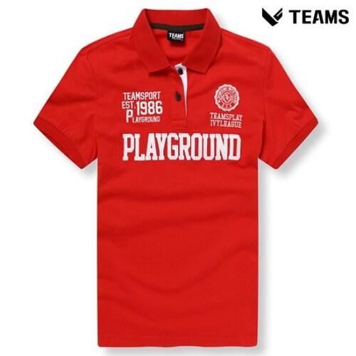 에이션패션 팀스폴햄 공용 로고 반팔 카라 티셔츠 TPU2TT3031_RD_이미지