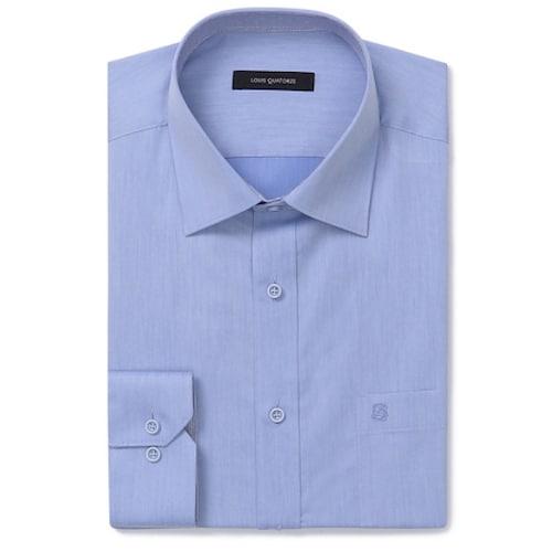 루이까또즈  블루 솔리드 일반긴소매 셔츠 E8C182_이미지