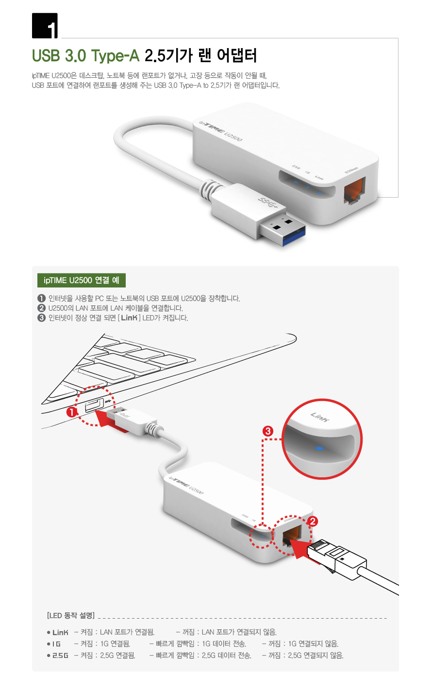 EFM ipTIME U2500 기가비트 랜카드