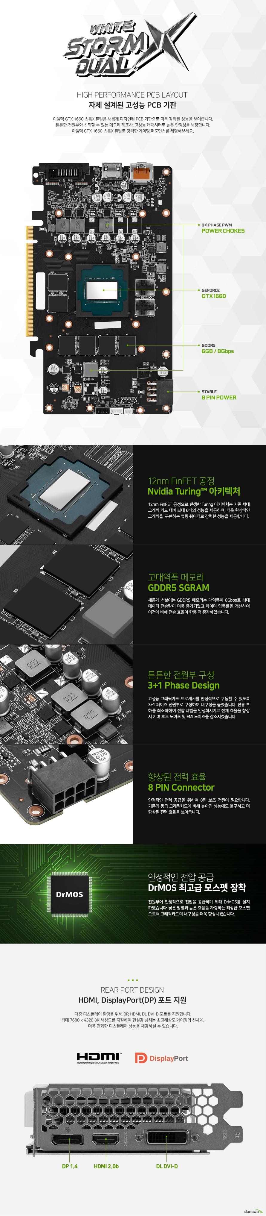 이엠텍 XENON 지포스 GTX 1660 STORM X Dual OC D5 6GB WHITE