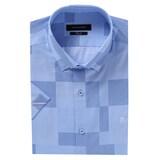 루이까또즈  슬림핏 반소매 블루 사각 도트 패턴 스냅 셔츠 Q70592_이미지