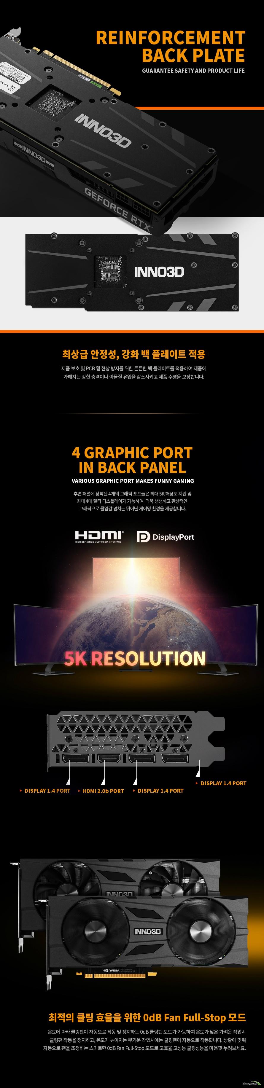 INNO3D  지포스 RTX 2070 SUPER OC D6 8GB 백플레이트